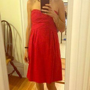 Red Nanette Lepore strapless cocktail dress